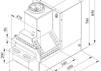 Jaccard KT-ALP Meat Press/Flattener Specifications drawing